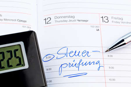 entered: an appointment is entered on a calendar  tax audit