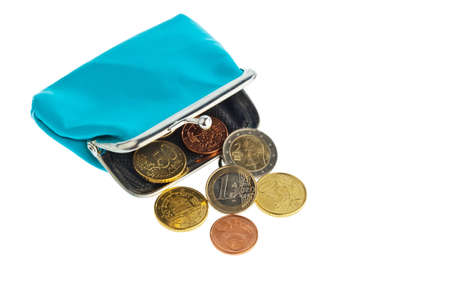 coin purses: an empty wallet with a few euro coins  photo icon on debt and poverty