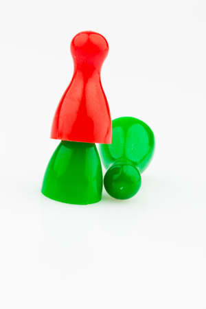 red and green characters  bullying, loneliness and outsider in the team Stock Photo - 14563221
