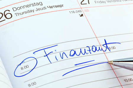 entered: an appointment is entered on a calendar  tax office