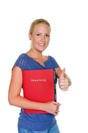 a woman with junfe application folder  proper clothing for the interview  Stock Photo - 14587276
