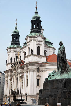 old town square: prague, old town square, jan hus monument, the czech republic
