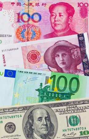 chinese yuan  eurp�ische-euro bank notes  american dollars  norwegian kroner photo