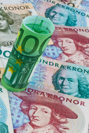 european exchange: swedish krona, the currency of sweden  european and euro banknotes