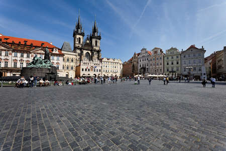 old town square: prague, old town square, church of the virgin mariatyn Editorial