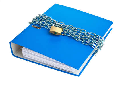 a file folder with chain and padlock closed  privacy and data security  photo