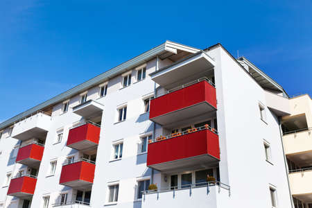 rentals: a modern home with balconies  live in apartments and condos Stock Photo