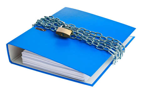 contained: a file folder with chain and padlock closed  privacy and data security