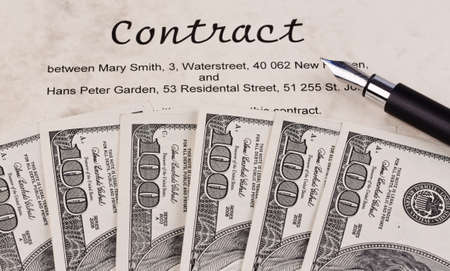 cancellation: dollar currency notes and english contract Stock Photo