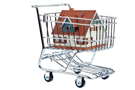 a model of a house in a shopping cart  symbolic photo for house purchase  photo
