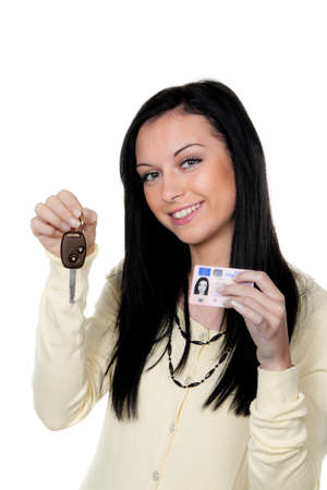open minded: woman with car keys and driver s license  driving test