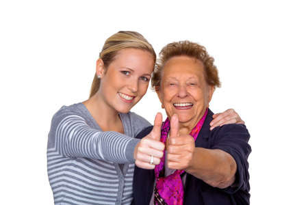 a grandchild visiting his grandmother  laughter and joy  thumbs up Stock Photo - 15652272