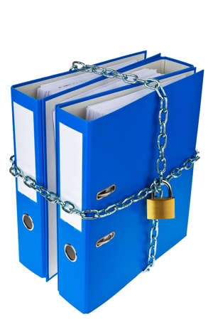 self contained: a file folder with chain and padlock closed  privacy and data security