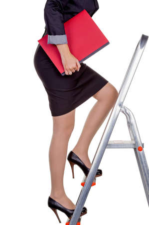 employment agency: a woman in business attire with job application  proper clothing for the interview