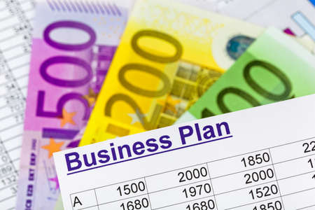 a business plan for starting a business  ideas and strategies for self-employment  euro notes  Stock Photo - 15683772