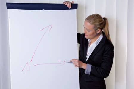 a young woman with a flip chart board during a presentation  training and adult education  Stock Photo - 15652175