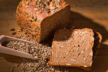 nutritional: a fresh bread with pumpkin seeds for a healthy diet  baked goods from black bread