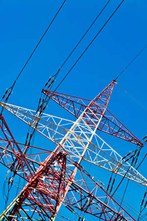 pylons of a high voltage power line  production and transport of energy  photo