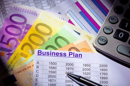 a business plan for starting a business  ideas and strategies for self-employment  euro banknotes and calculator Stock Photo - 15683813