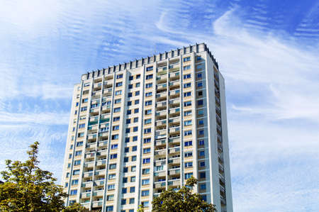 one older high-rise apartment building  live in high-rise Stock Photo - 16152349