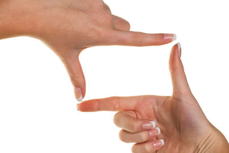 hand gestures: hands making a frame with her fingers. symbolic photo for bigotry and perspective