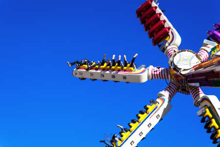 freetime activity: rides at a folk festival. mood and thrill Stock Photo