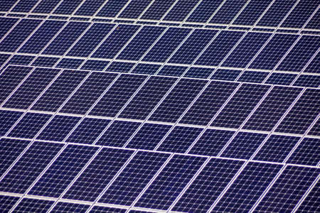 decentralized: solar cells for solar energy a solar power plant  alternative and clean energy from solar power Stock Photo