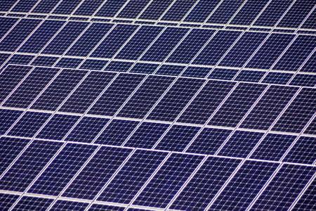 photovoltaic power station: solar cells for solar energy a solar power plant  alternative and clean energy from solar power Stock Photo