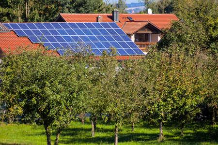 solar panels on a house  solar power plant for alternative solar energy in the home  photo