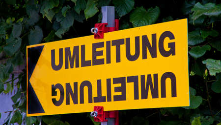 diversion: a sign at a road diversion Stock Photo