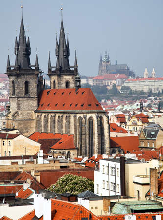 czechia: view from the powder tower and tyn church at prague castle in prague