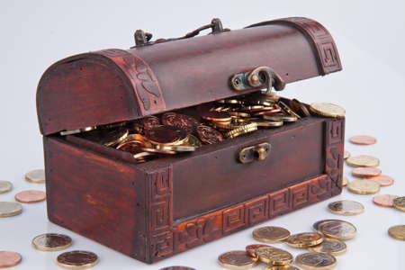 treasure chest with euro coins  isolated on white background  Stock Photo - 16328031
