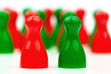 coalition: red and green pawns  coalition government between red and green