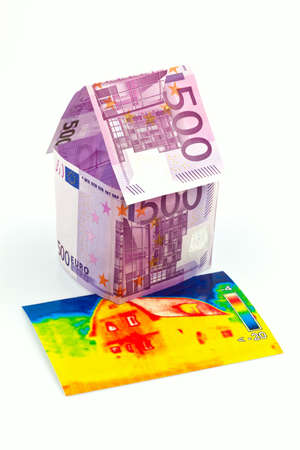 imaging: a house made of euro money appear and an infrared image  building