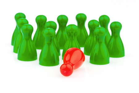 red and green pawns  bullying, loneliness and outsider in the team  Stock Photo - 16327750