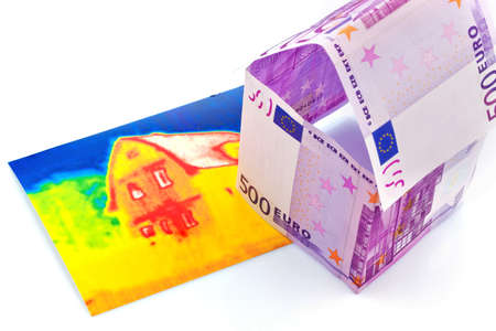 thermal imaging: a house made of euro money appear and an infrared image  building society