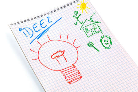 think through: a notepad with the word  idea   creativity to think through