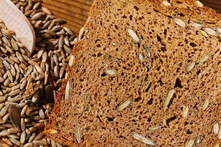 closeup of a slice of bread  background for healthy eating  photo