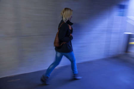 a young woman in an underpass for pedestrians Stock Photo - 16392287
