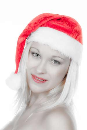 santa cap: a young woman with santa hat