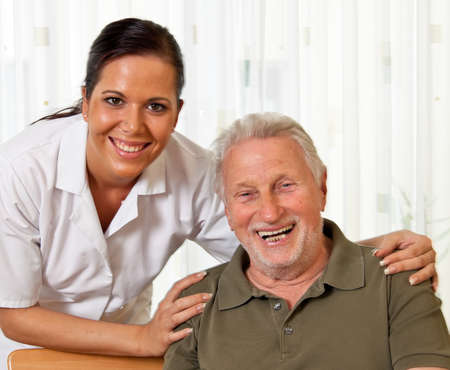 home care: a nurse in elderly care for the elderly in nursing homes