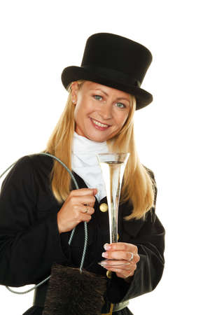 sweep: woman as a chimney sweep  lucky new years eve and new year  Stock Photo
