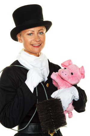 chimney sweep: woman as a chimney sweep  lucky new years eve and new year  Stock Photo