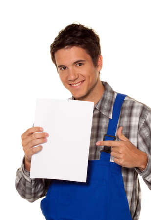 present presentation: young craftsmen - plumber - construction worker in front of white background