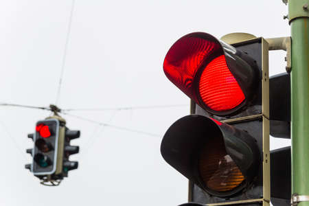 a traffic light with red light  symbolic photo for maintenance, economy, failure Stock Photo