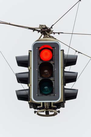 traffic regulation: a traffic light with red light  symbolic photo for maintenance, economy, failure Stock Photo