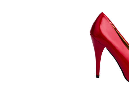 prostitution: red high heel on a white background  symbolfoto adult and prostitution Stock Photo