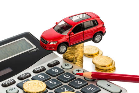 Leasing: car and calculator  rising costs for car sales, leasing, workshop, refueling and insurance