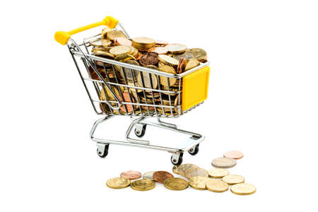 purchasing power: a shopping cart is filled with well-euro coins, symbolic photo for purchasing power and consumption