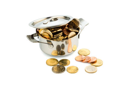 subsidize: a pot filled with euro coins photo icon for government subsidies
